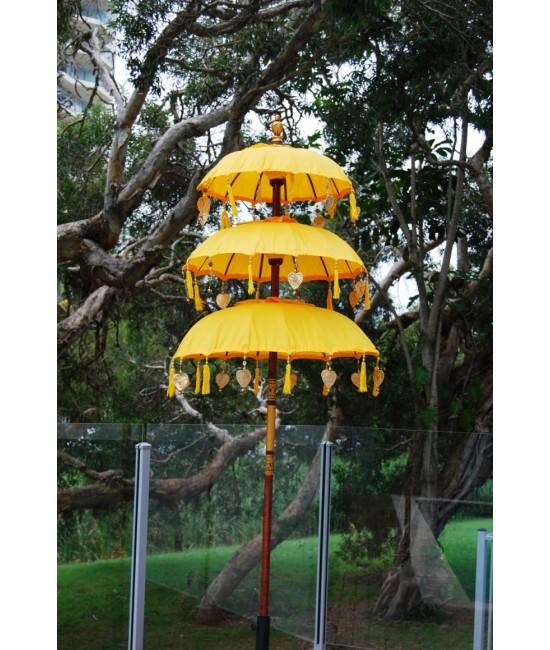 Yellow Triple Tier Bali Umbrella