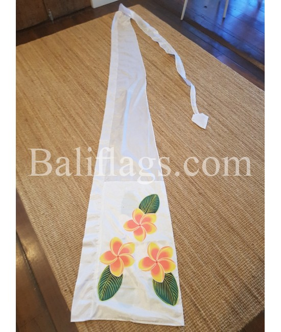 White Bali Frangipani Flag Hand Painted