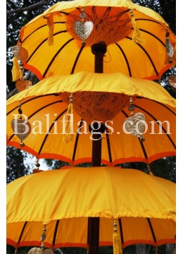 Yellow Triple Tier Bali Umbrella
