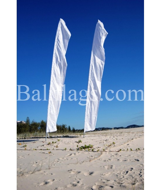 White Bali Feather Wedding Flag