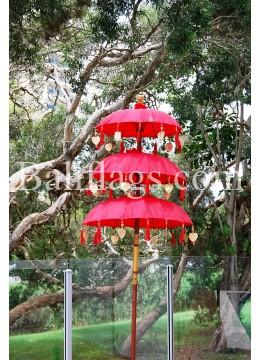 Red Triple Tier Bali Umbrella