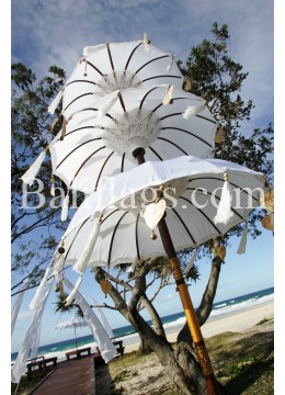 Large Triple Tiered Umbrella White