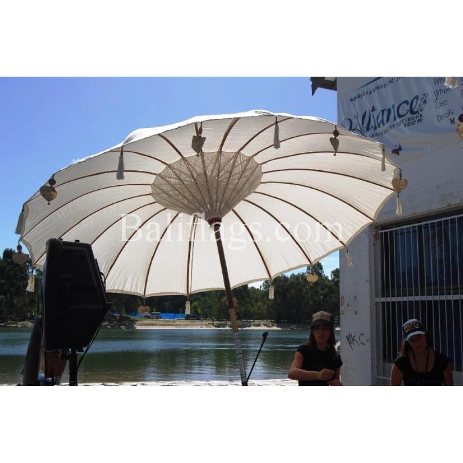 white bali wedding umbrella