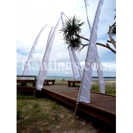 White Bali Wedding Flag